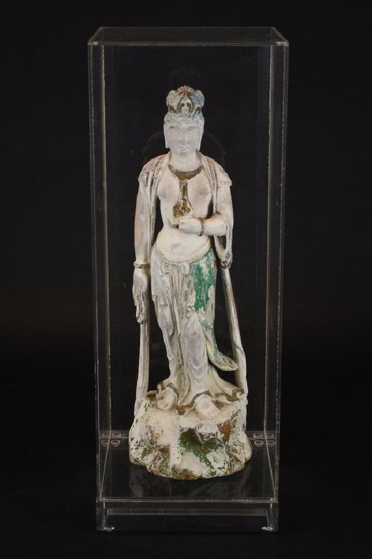 Chinese Poly Chrome Carved Wood Standing Guan Yin