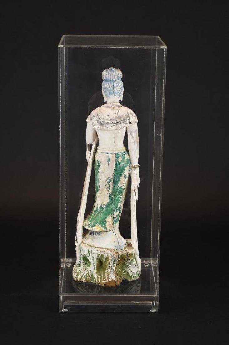 Chinese Poly Chrome Carved Wood Standing Guan Yin - 3
