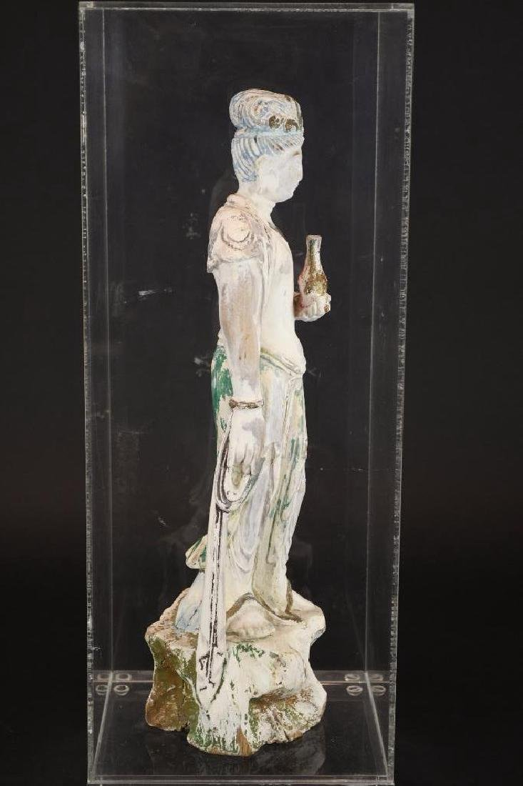 Chinese Poly Chrome Carved Wood Standing Guan Yin - 4