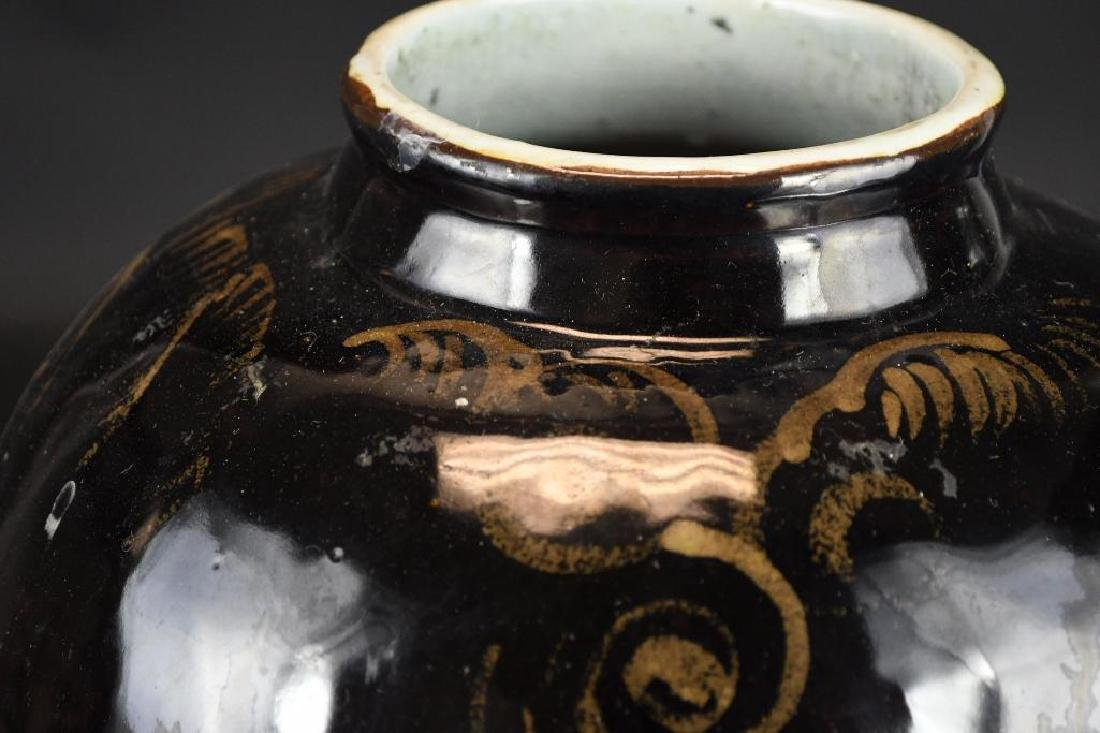 Chinese Black Glaze Vase - 6