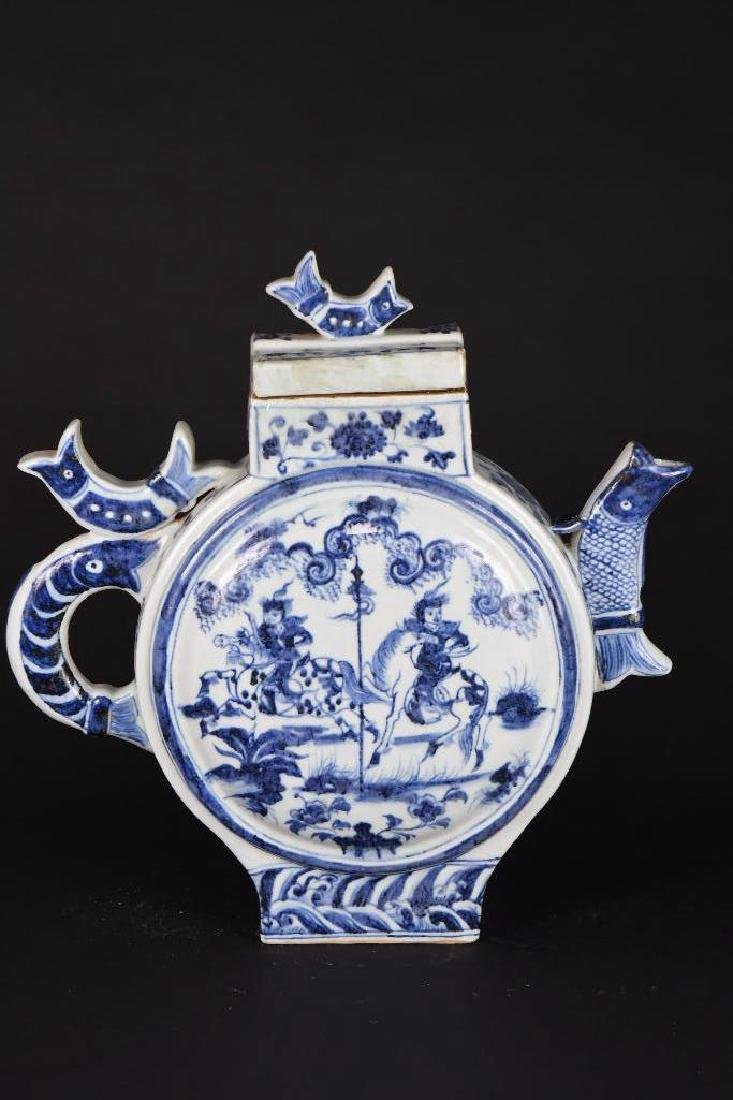 Chinese Blue and White Porcelain Lidded Ewer - 3