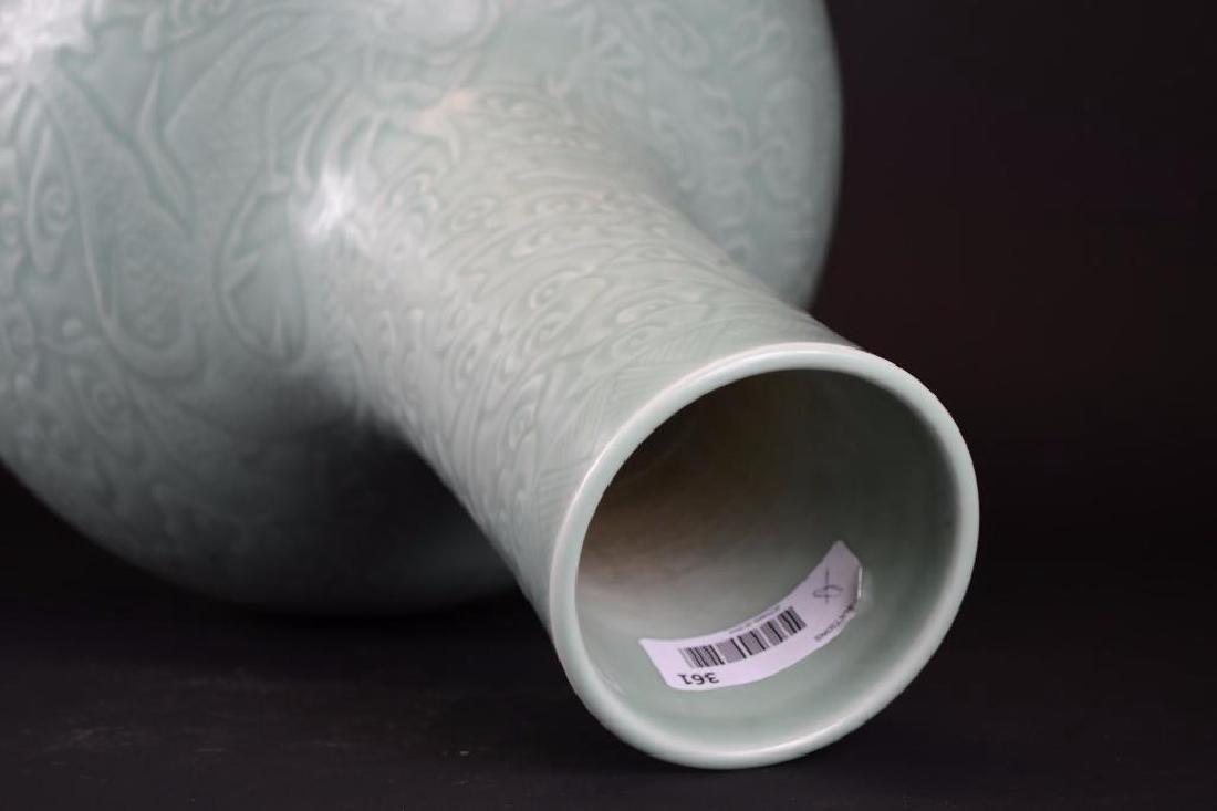 Chinese Celadon Glaze Vase with Incised Decoration - 5