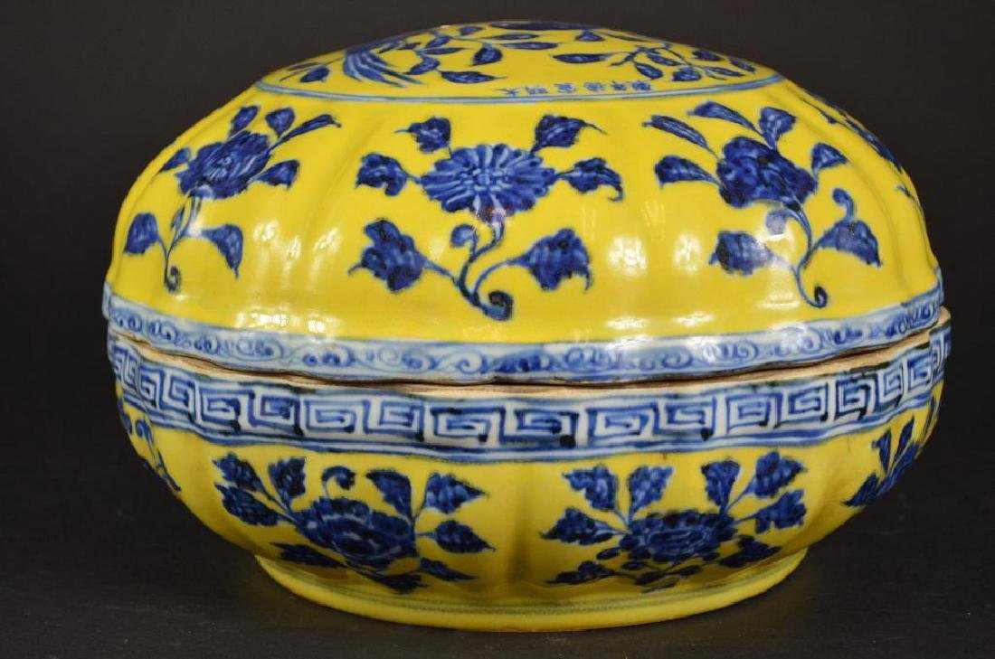 Chinese Yellow Ground & Underglaze Blue Porcelain Box