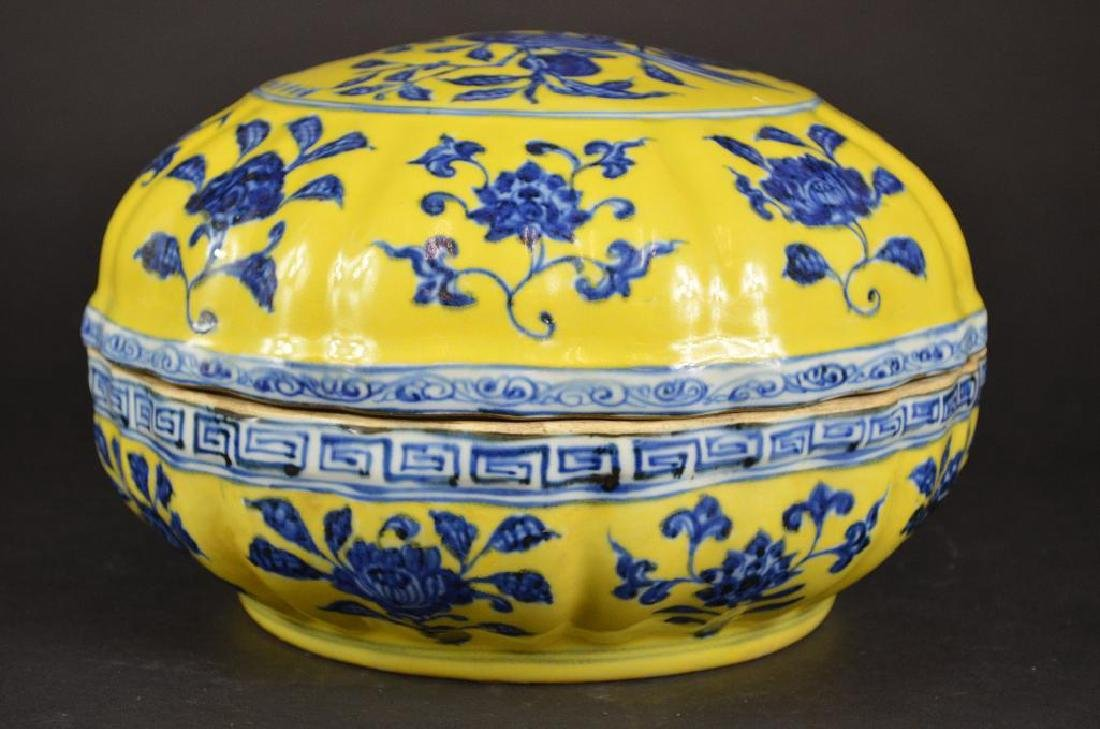 Chinese Yellow Ground & Underglaze Blue Porcelain Box - 2