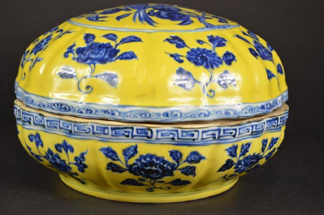 Chinese Yellow Ground & Underglaze Blue Porcelain Box - 3