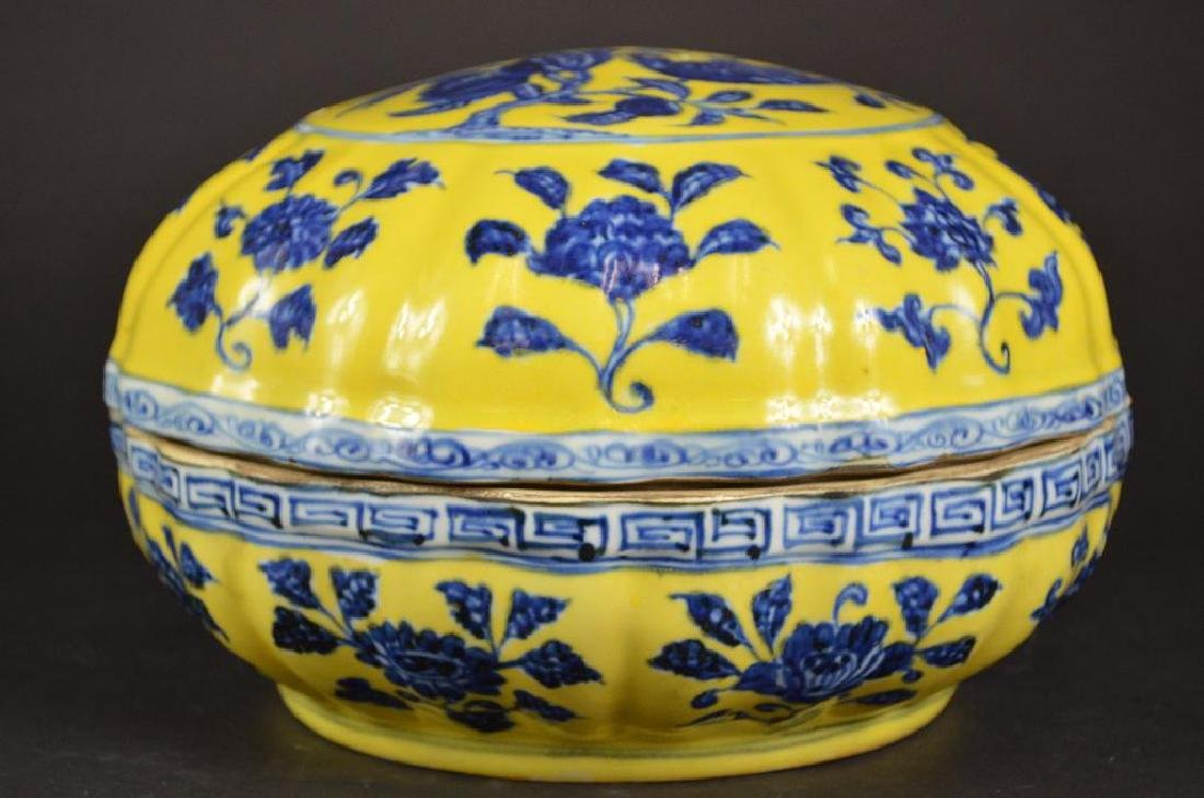 Chinese Yellow Ground & Underglaze Blue Porcelain Box - 4