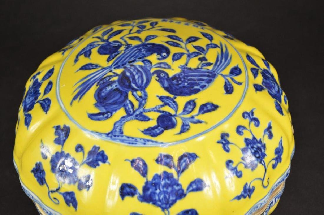 Chinese Yellow Ground & Underglaze Blue Porcelain Box - 5