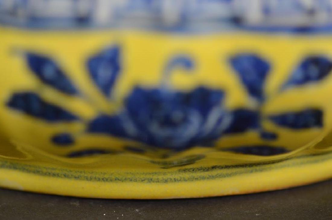 Chinese Yellow Ground & Underglaze Blue Porcelain Box - 9