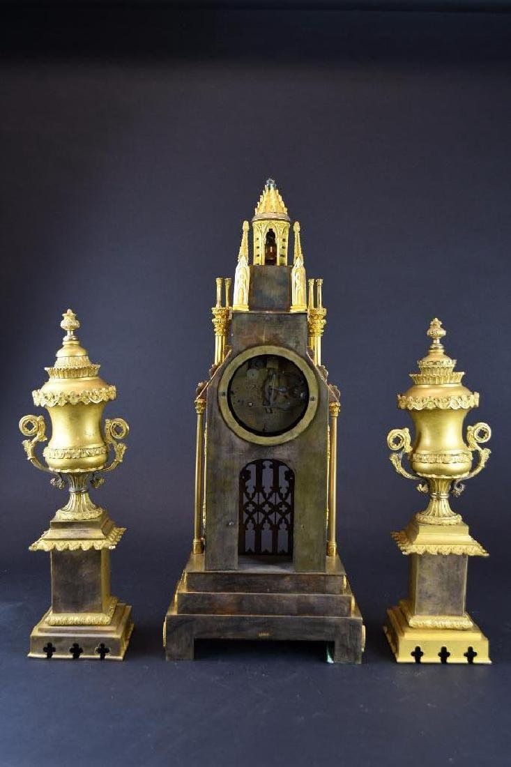 French Gold Gilt Bronze Mantle Clock Set - 10