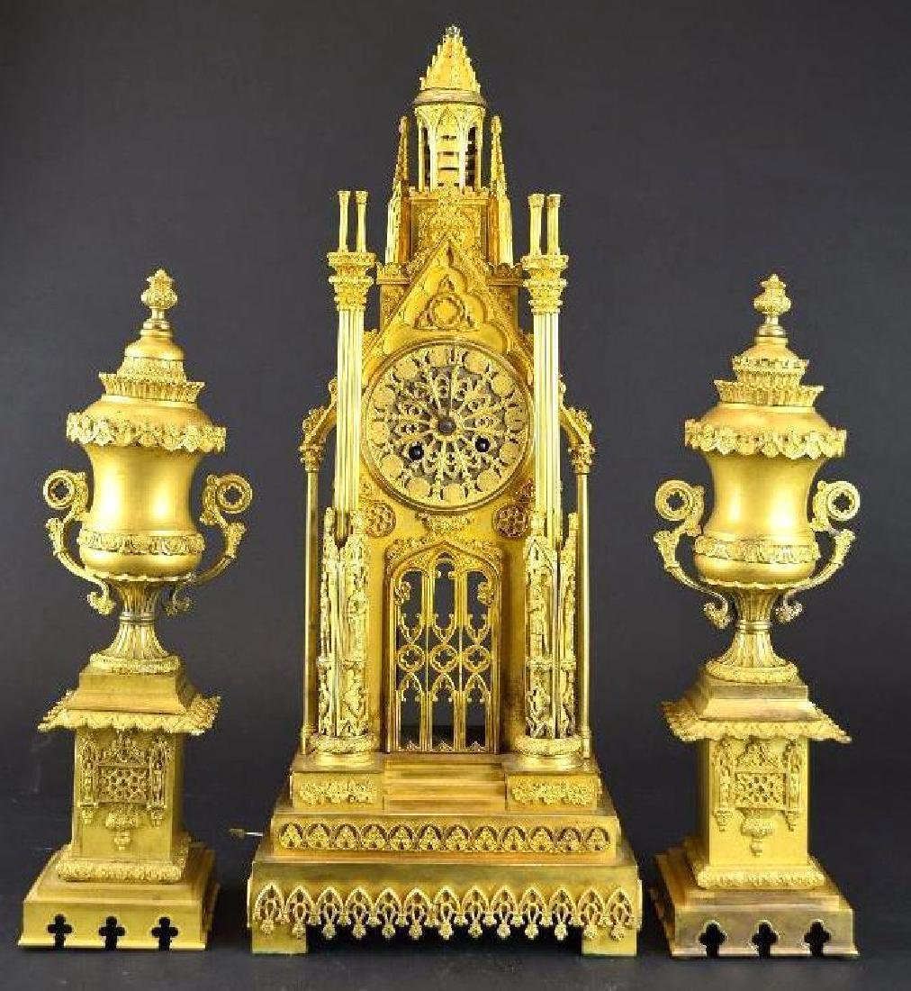 French Gold Gilt Bronze Mantle Clock Set