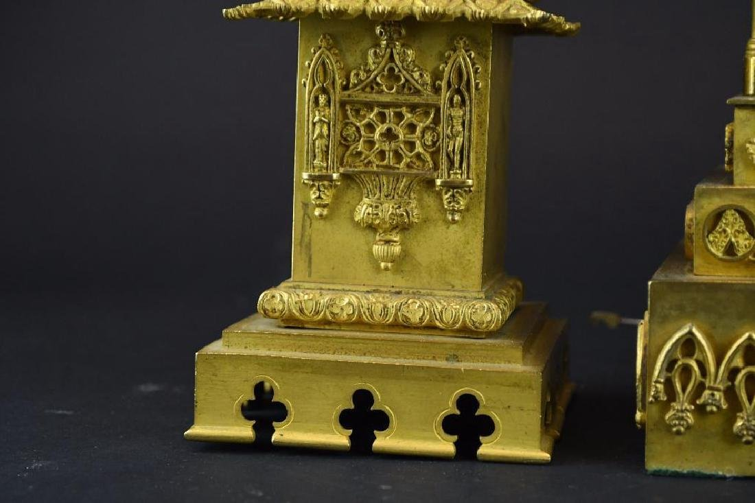 French Gold Gilt Bronze Mantle Clock Set - 8