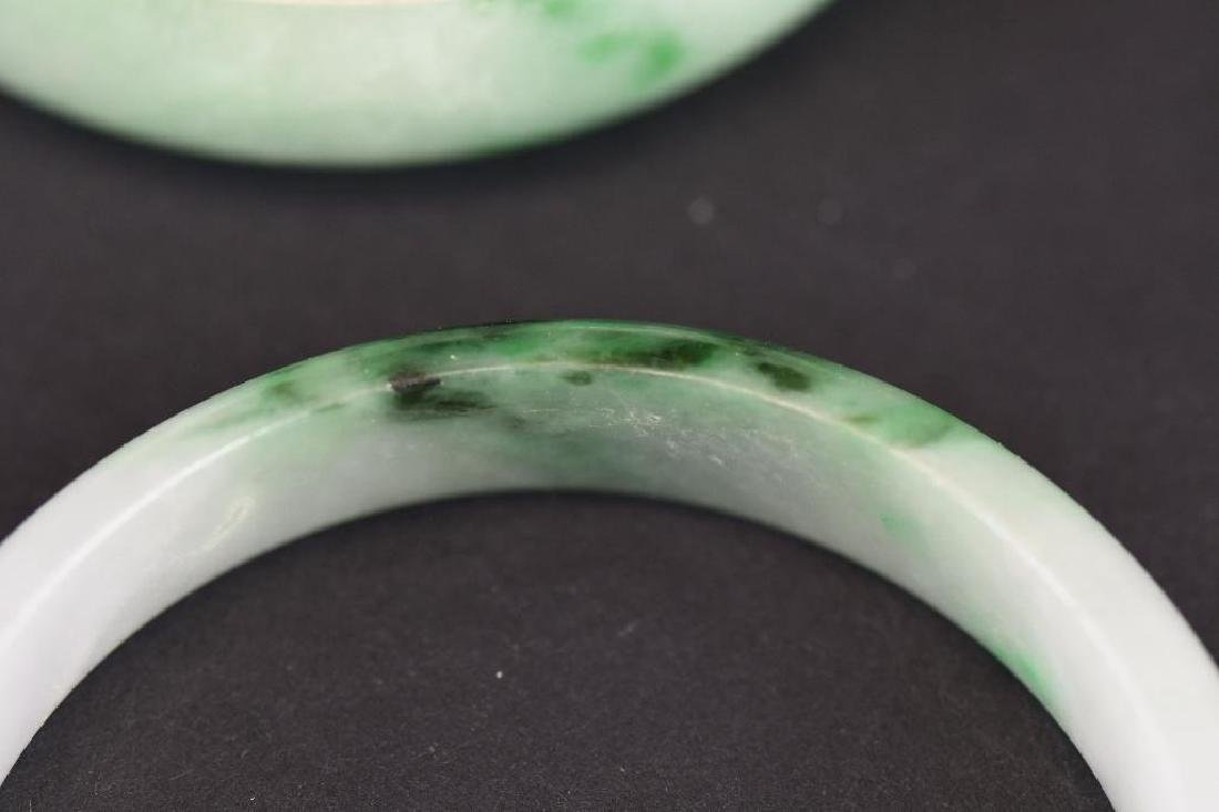 Four Mottled Green Jadeite Bangles - 10
