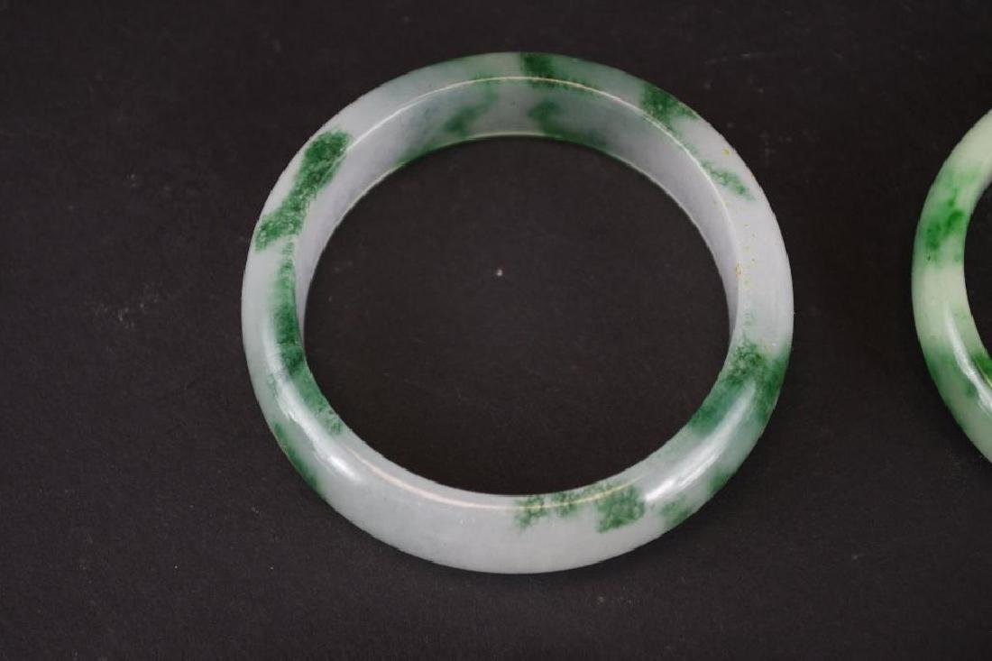Four Mottled Green Jadeite Bangles - 2