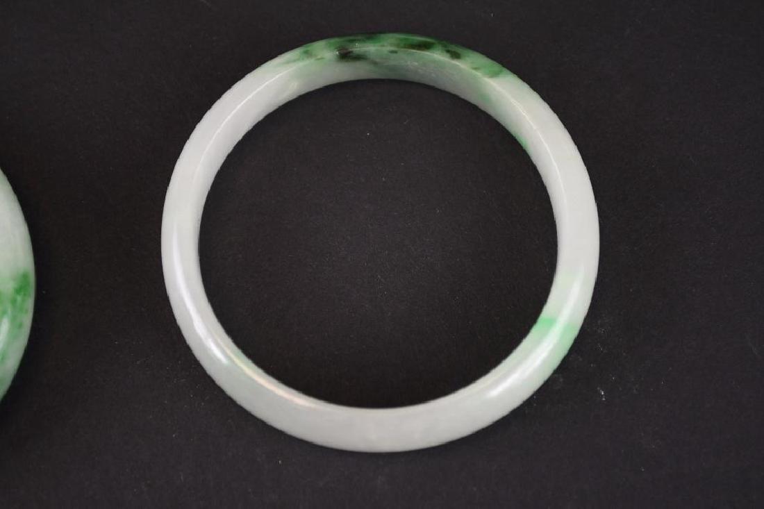 Four Mottled Green Jadeite Bangles - 4