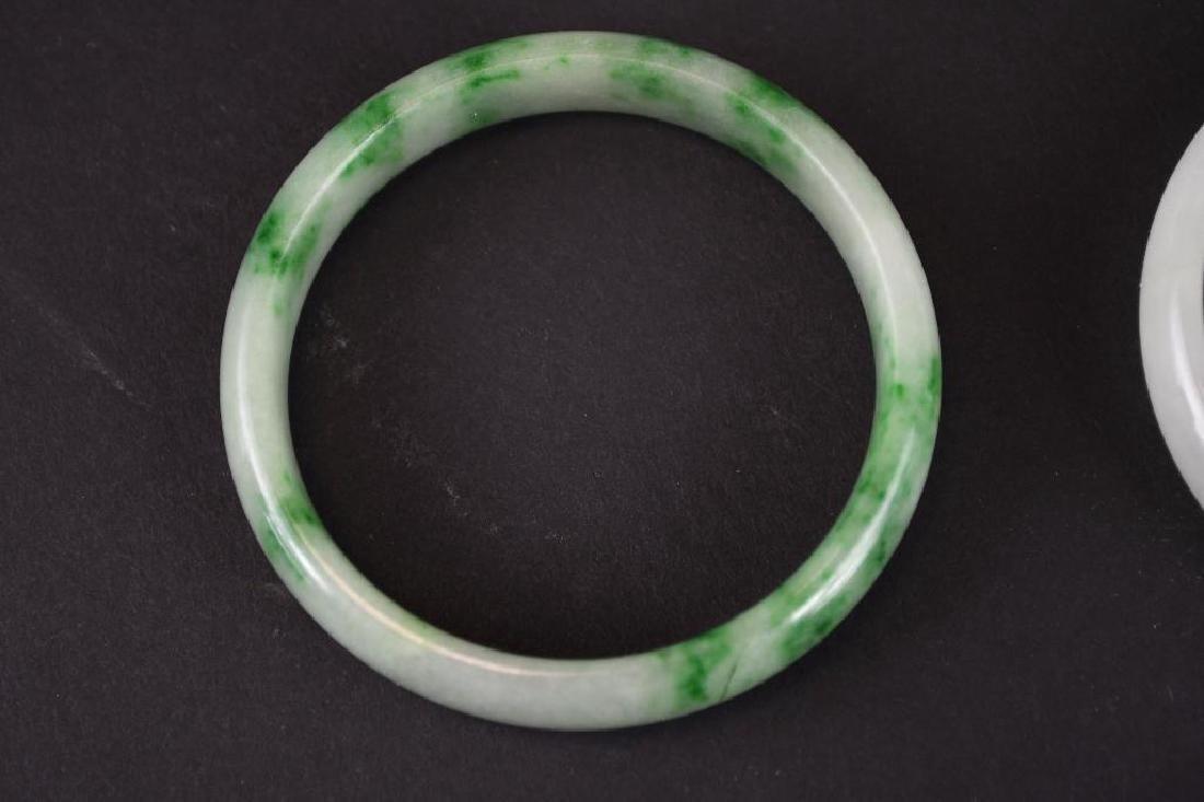 Four Mottled Green Jadeite Bangles - 5