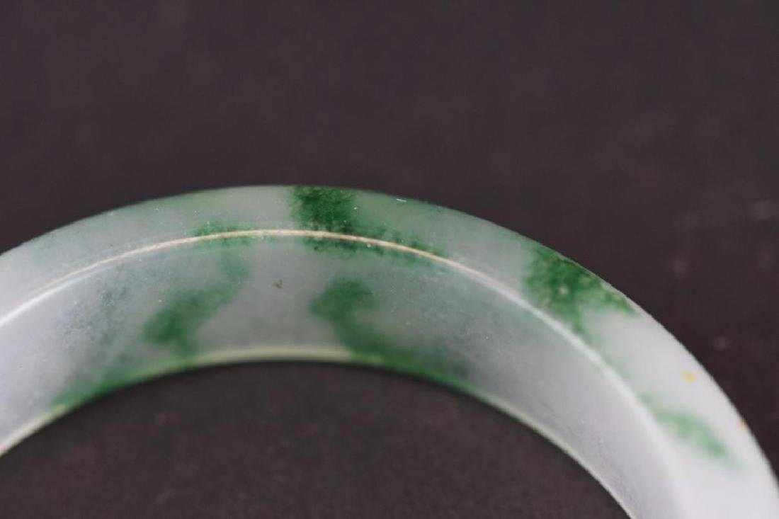 Four Mottled Green Jadeite Bangles - 6