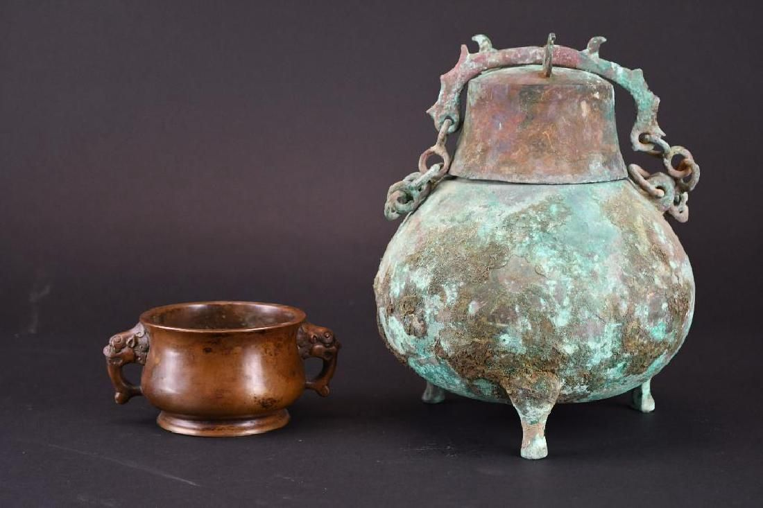 Two Chinese Bronze Items