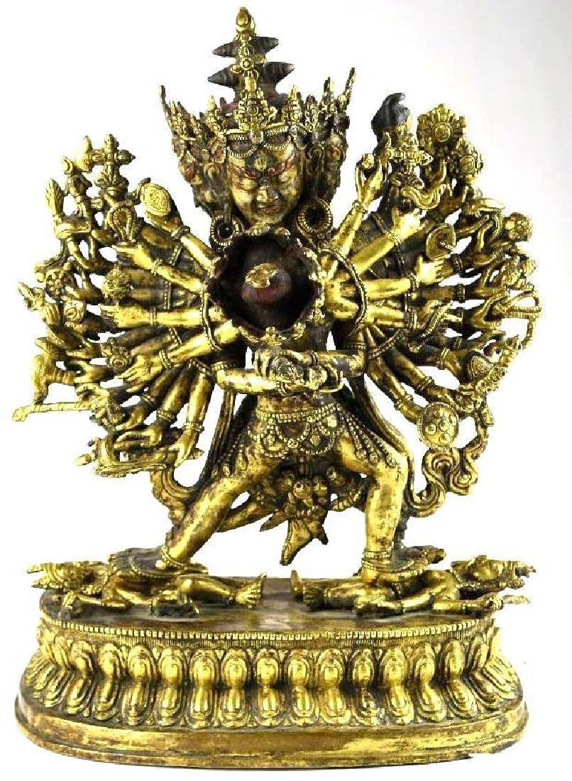 Antique 18th Century Tibetan Gilt Bronze Multi Arm