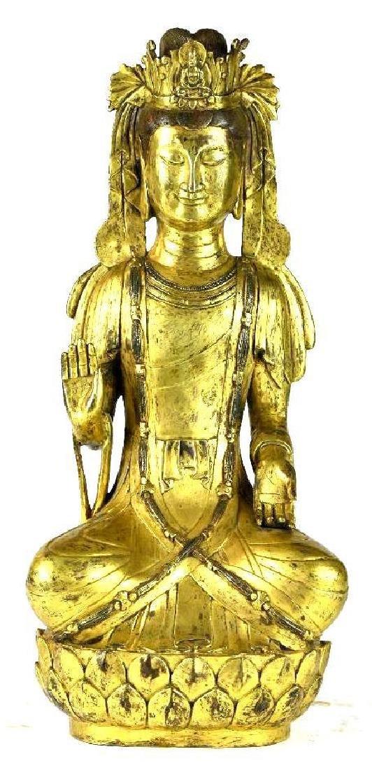 Chinese Bronze Buddha on Lotus Base
