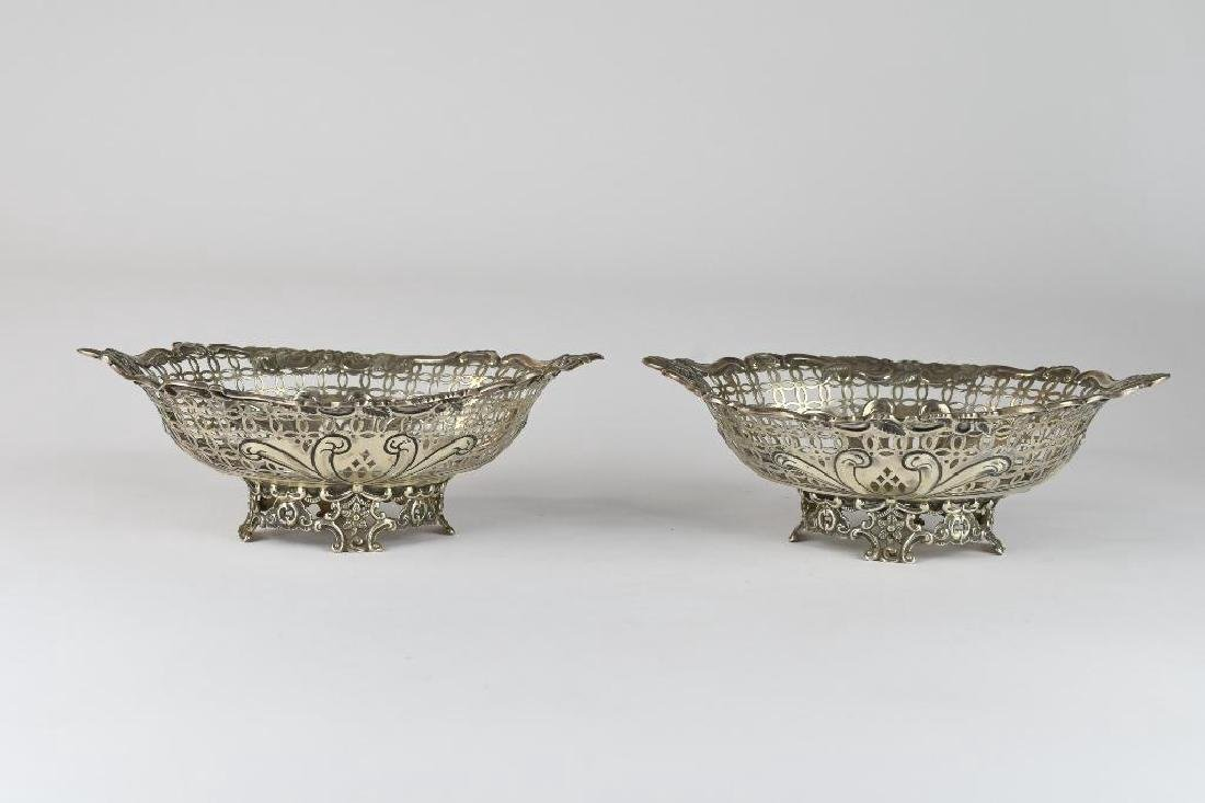 Pair of English Sterling Silver Reticulated Bowls