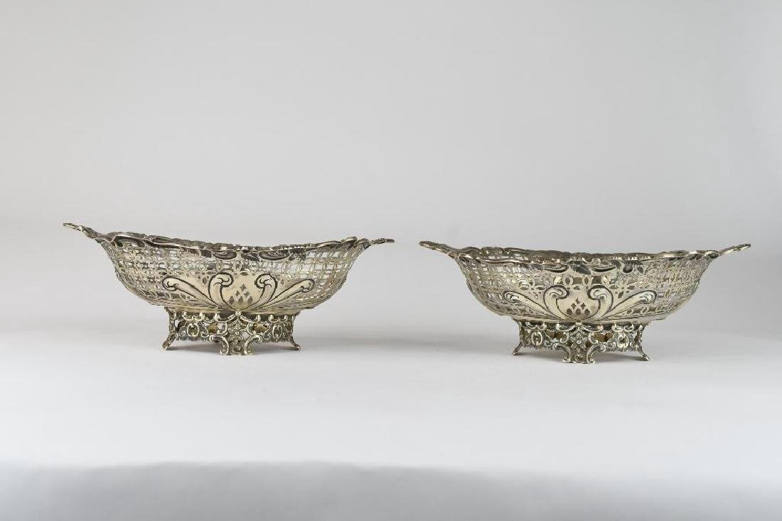 Pair of English Sterling Silver Reticulated Bowls - 2