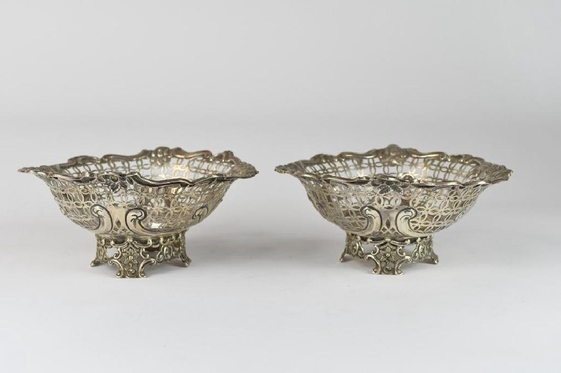 Pair of English Sterling Silver Reticulated Bowls - 3