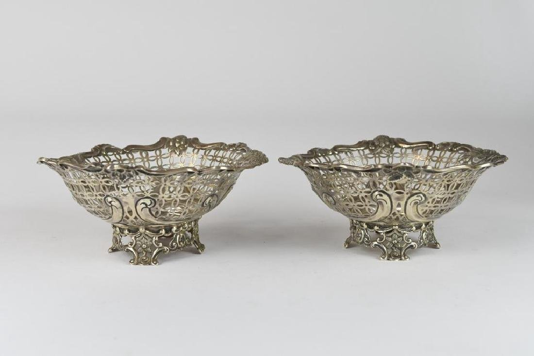 Pair of English Sterling Silver Reticulated Bowls - 5