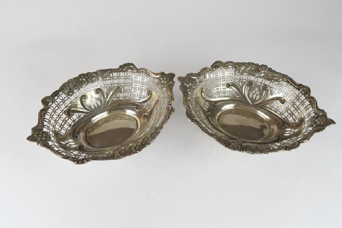 Pair of English Sterling Silver Reticulated Bowls - 6
