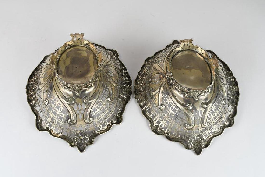Pair of English Sterling Silver Reticulated Bowls - 7