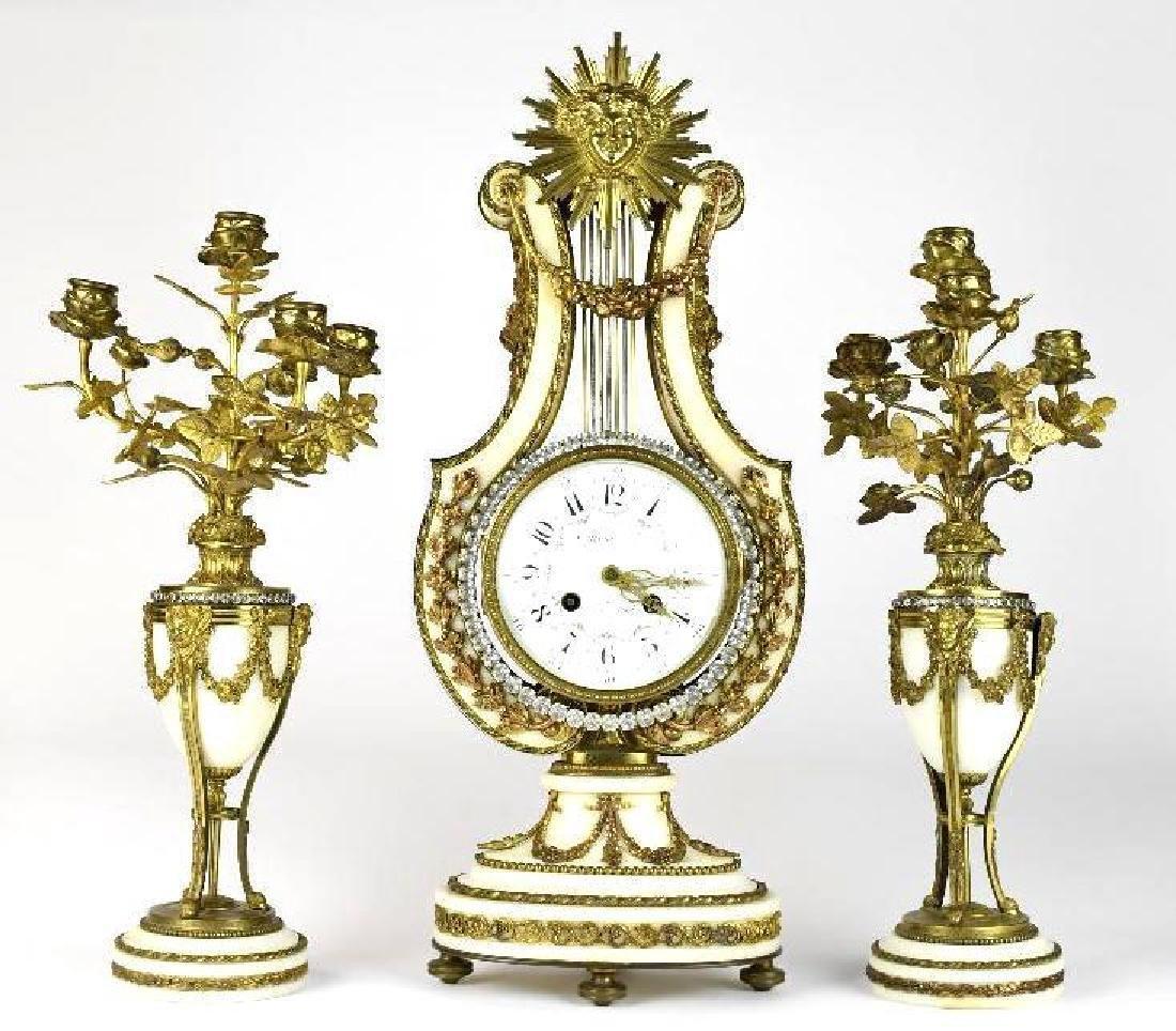 Tiffany & Co Gilt Bronze & Marble Clock Set
