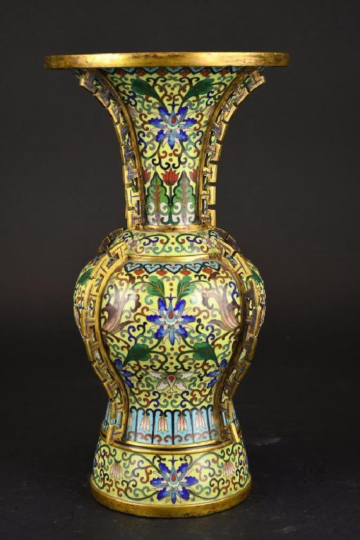 Chinese Cloisonne Decorated Bronze Vase