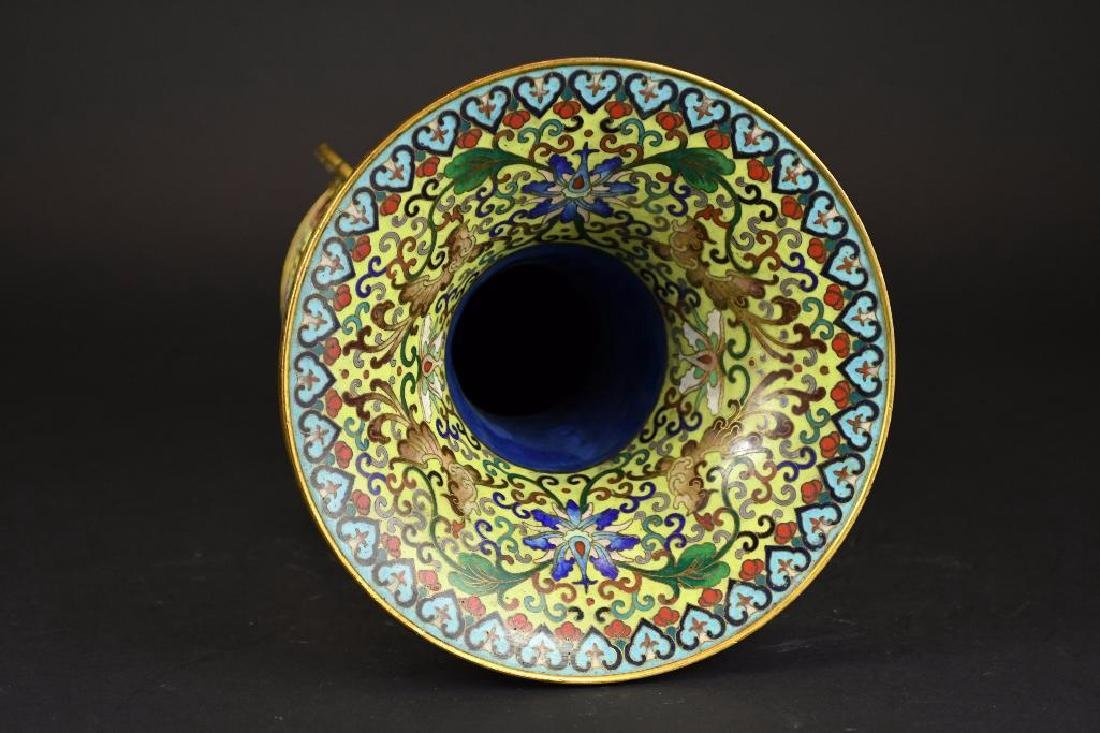 Chinese Cloisonne Decorated Bronze Vase - 2