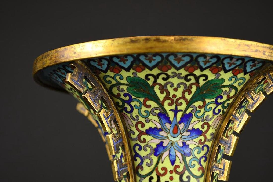 Chinese Cloisonne Decorated Bronze Vase - 3