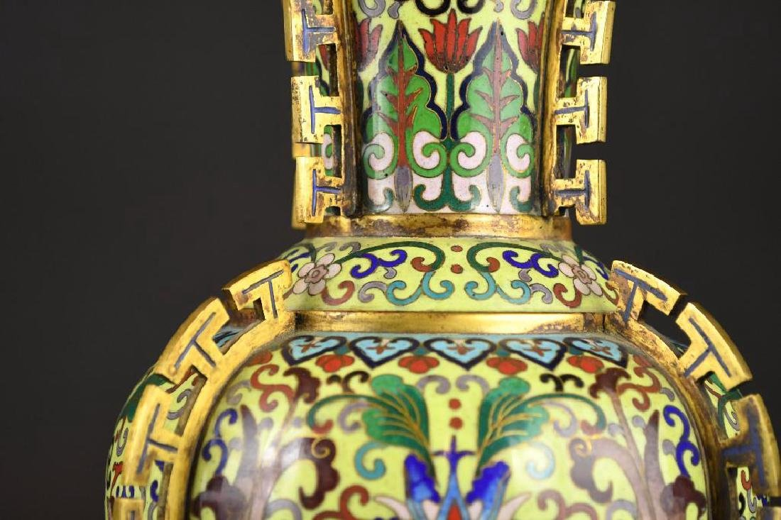 Chinese Cloisonne Decorated Bronze Vase - 4