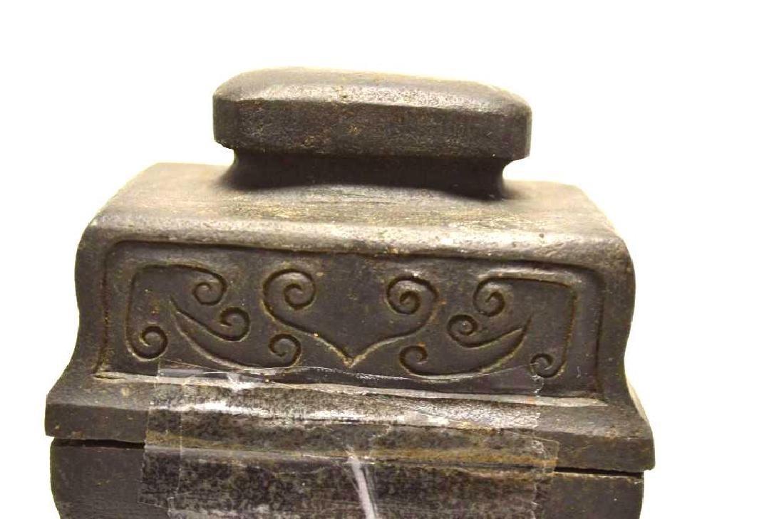 Chinese Black/Hardstone Lidded Vase - 2