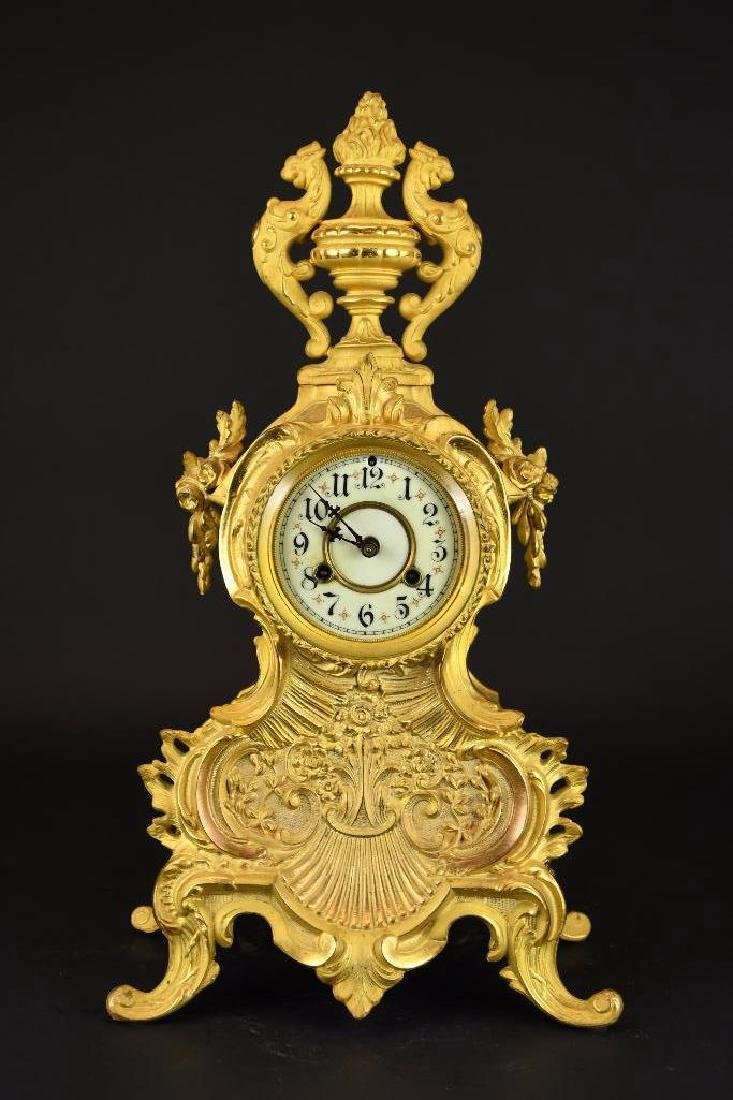 French Gold Gilt Mantle Clock