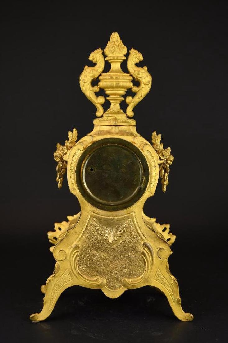 French Gold Gilt Mantle Clock - 3