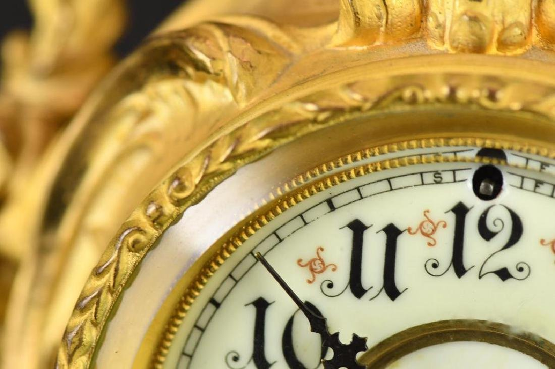 French Gold Gilt Mantle Clock - 5
