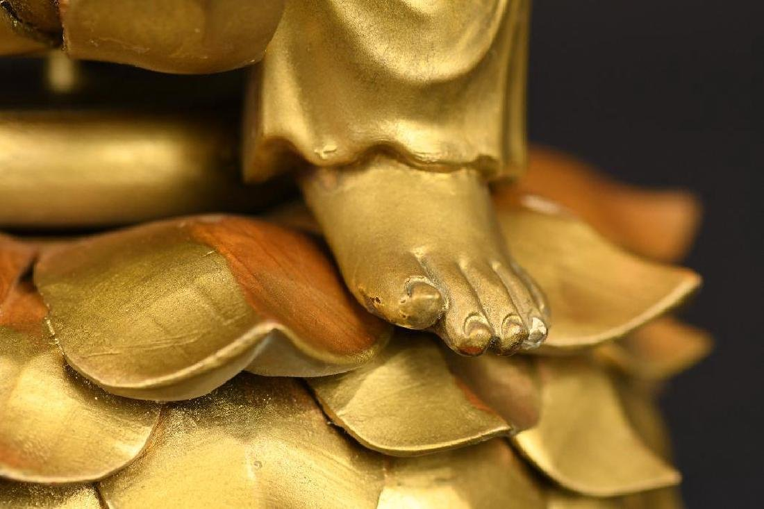 Chinese Gilt Carved Wood seated Buddha on Lotus Base - 10