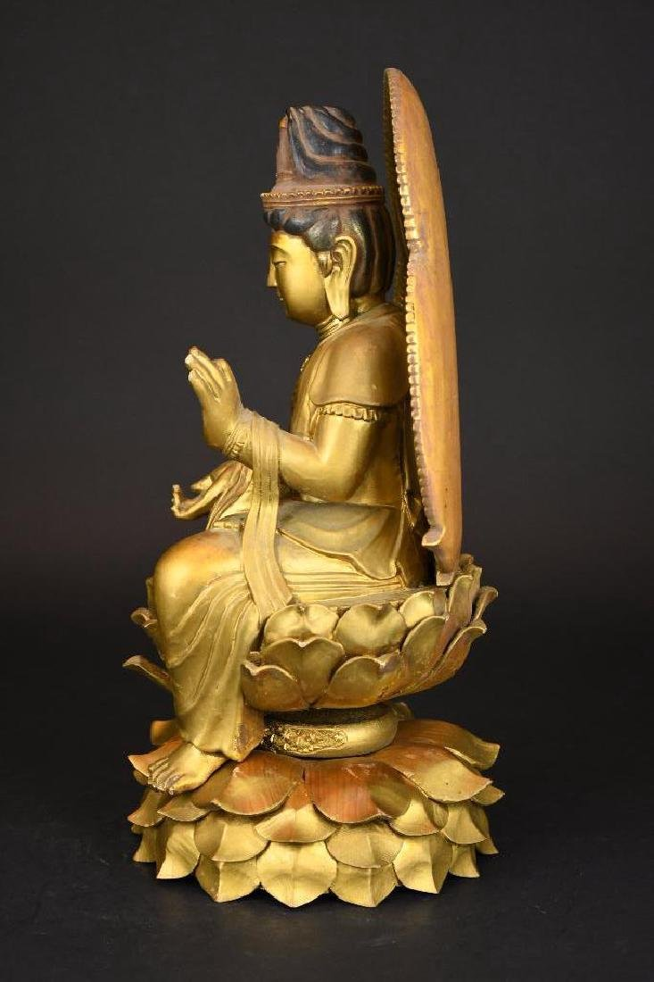 Chinese Gilt Carved Wood seated Buddha on Lotus Base - 2