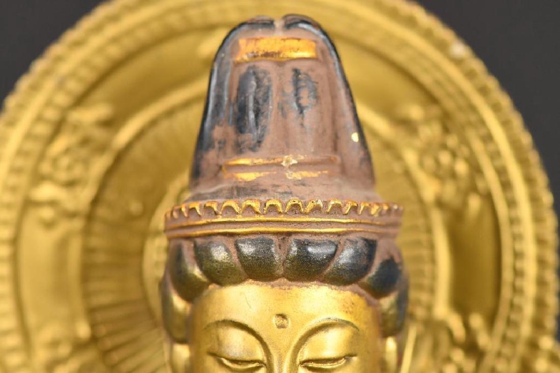 Chinese Gilt Carved Wood seated Buddha on Lotus Base - 4