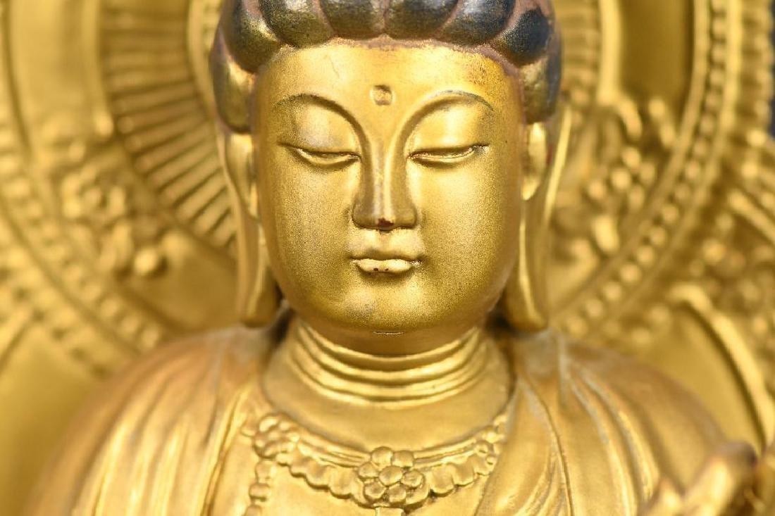 Chinese Gilt Carved Wood seated Buddha on Lotus Base - 5