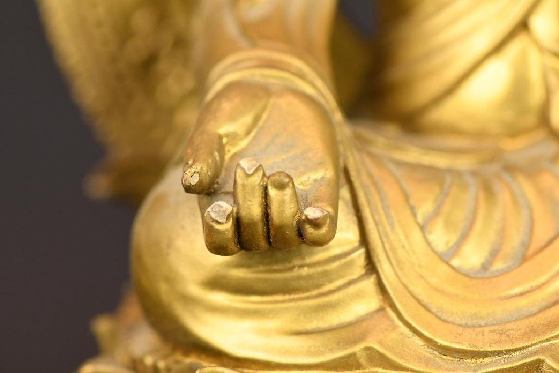 Chinese Gilt Carved Wood seated Buddha on Lotus Base - 8