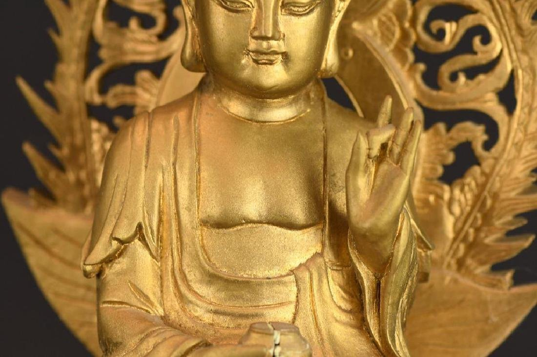 Three Chinese Gilt Carved Wood seated Buddha - 7
