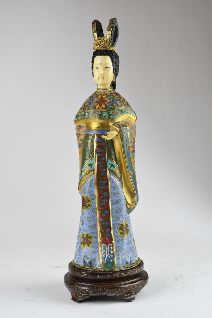 Chinese Cloisone Enamel Bronze Standing Beauty