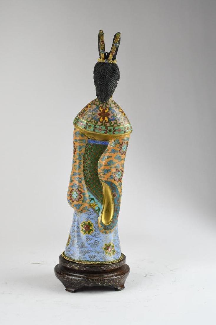 Chinese Cloisone Enamel Bronze Standing Beauty - 3