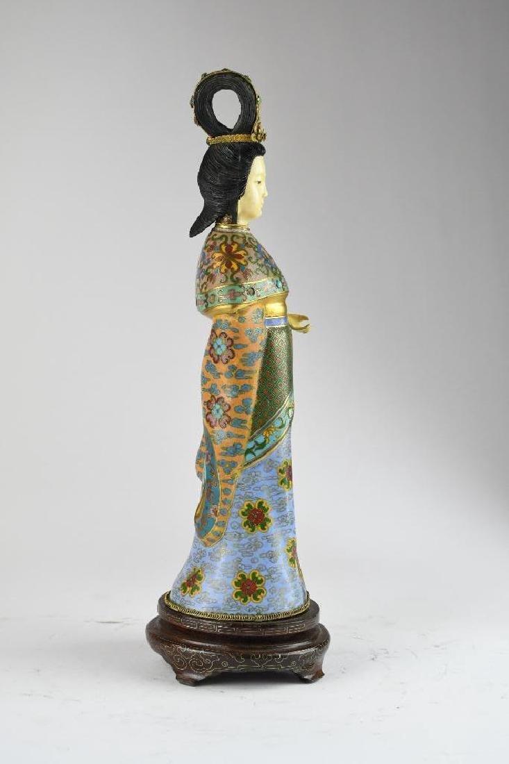 Chinese Cloisone Enamel Bronze Standing Beauty - 4