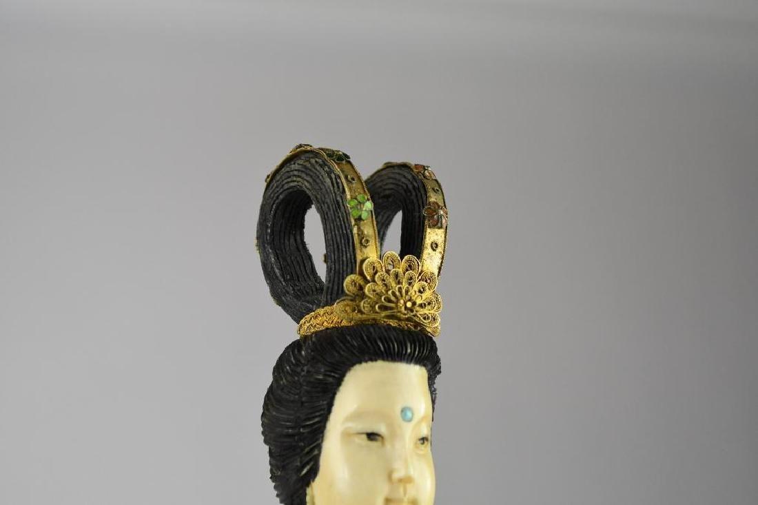 Chinese Cloisone Enamel Bronze Standing Beauty - 5