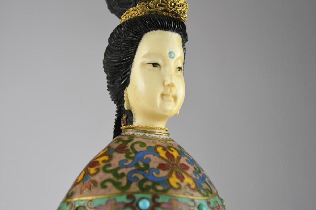 Chinese Cloisone Enamel Bronze Standing Beauty - 6