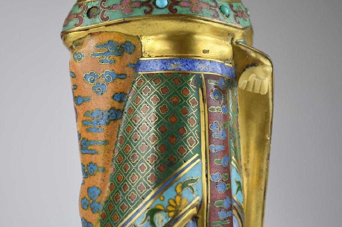 Chinese Cloisone Enamel Bronze Standing Beauty - 7